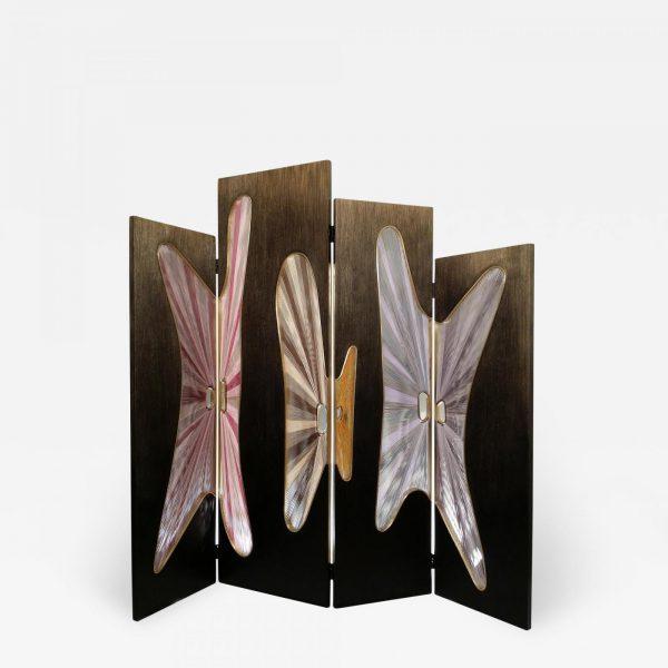 Paravent pliable en chêne, laiton et fils de soie signé Hoon Moreau, artiste designer de meubles uniques en bois sculpté