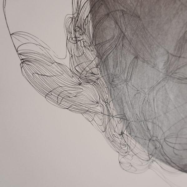 Dessin abstrait à l'encre et feutre sur papier signé Marie-Pierre Biau