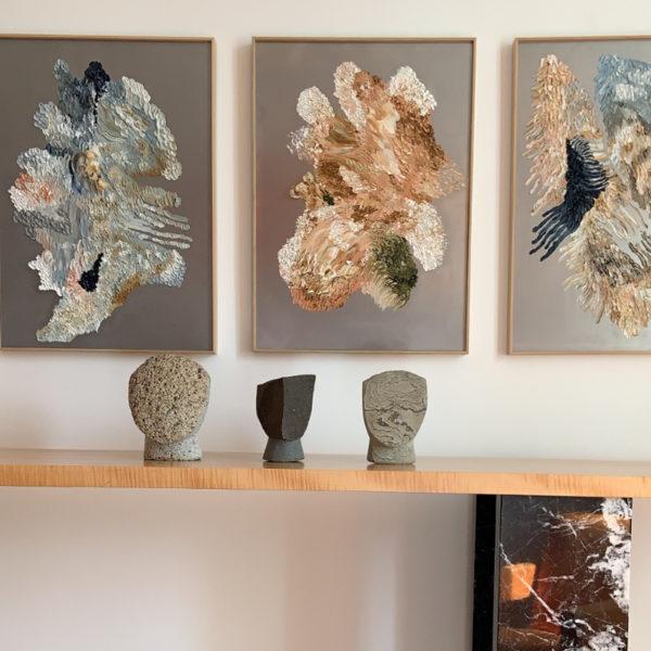 Sculpture de tête contemporaine en pierre naturelle signée Masanori Sugisaki