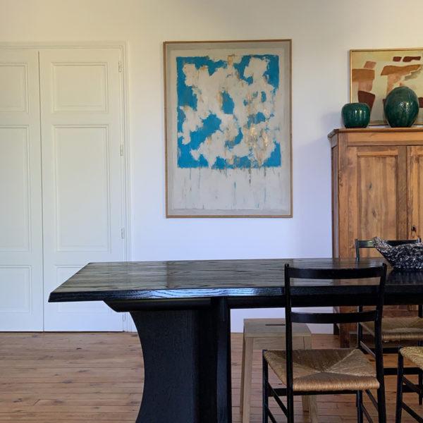 Tableau de nuages en peinture acrylique et argile blanche signé Beatrice Pontacq, artiste peintre à Bordeaux