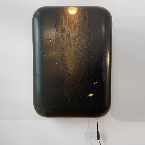 Sculpture lumineuse en chêne noirci et feuille d'or signée Hoon Moreau, artiste designer d'objets uniques en bois sculpté