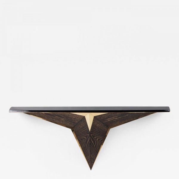 Console suspendue contemporaine en chêne et laiton doré, signée Antoine Vignault, artiste designer à Toulouse