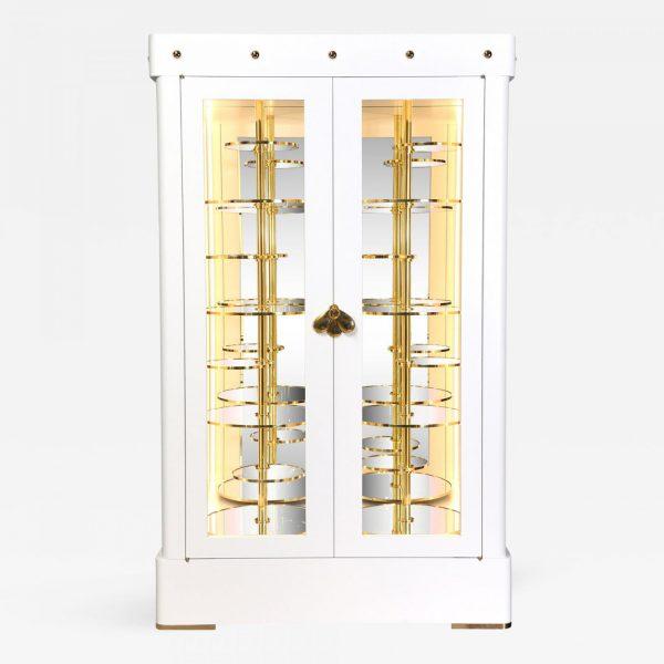 Vitrine de collectionneur laquée blanc à rayonnages pivotants, signée Antoine Vignault, artiste designer à Toulouse