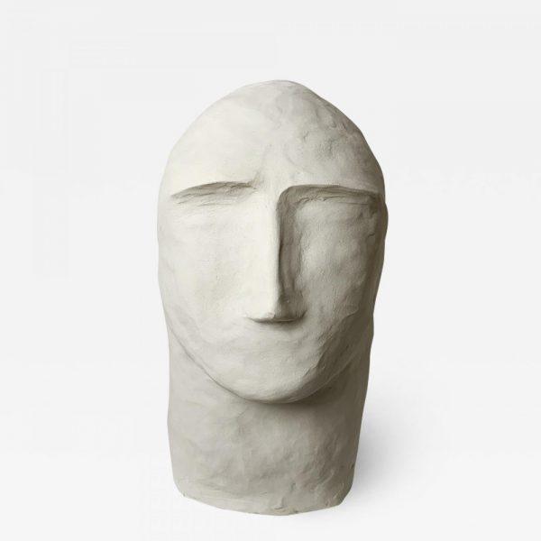 Sculpture de tête en argile blanche signée Dainche, artiste contemporain