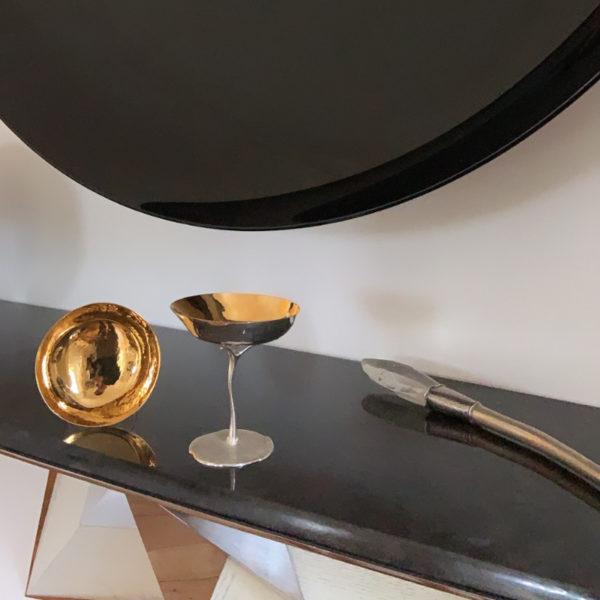 Coupe à Champagne en argent et vermeil signée Roland Daraspe, orfèvre et Maître d'Art à Bordeaux