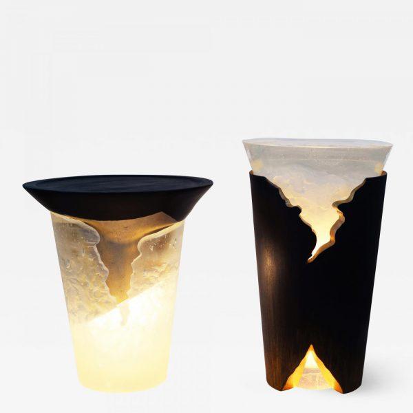 Tables d'appoint en bois, pâte de verre et feuille d'or signée Hoon Moreau, artiste designer de meubles uniques