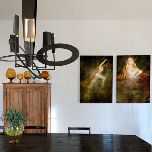 Suspension sculpturale en bronze, plâtre, argent, verre et or, signée Gareth Devonald Smith, sculpteur et designer d'installations lumineuses