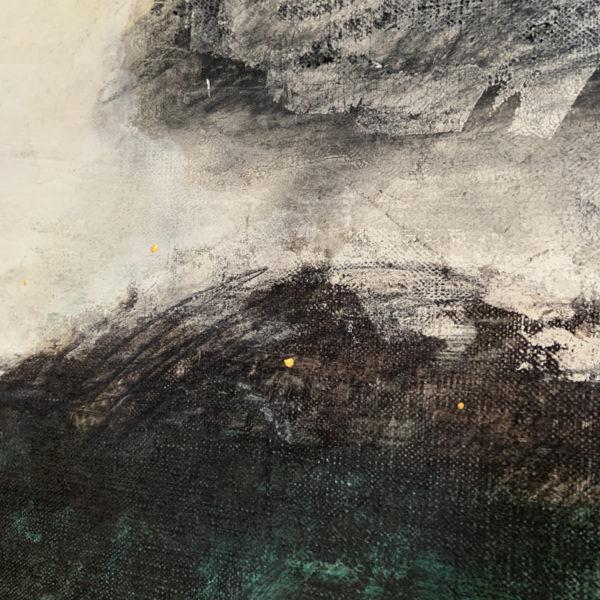 Tableau de nuages en peinture à l'huile, fusain et argile signé Beatrice Pontacq, artiste peintre à Bordeaux