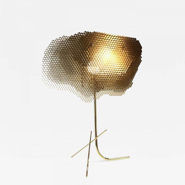 Lampe ruche sculpturale en nid d'abeille aluminium