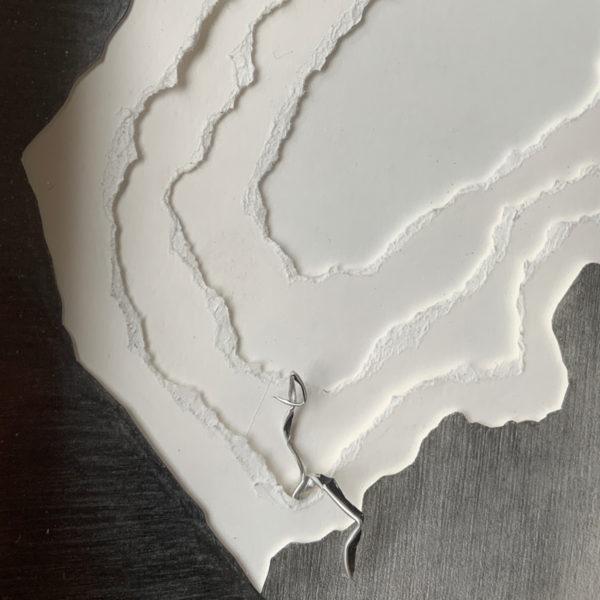 Dessin abstrait sur papier à la mine de plomb signé Hoon Moreau, artiste peintre, sculpteur