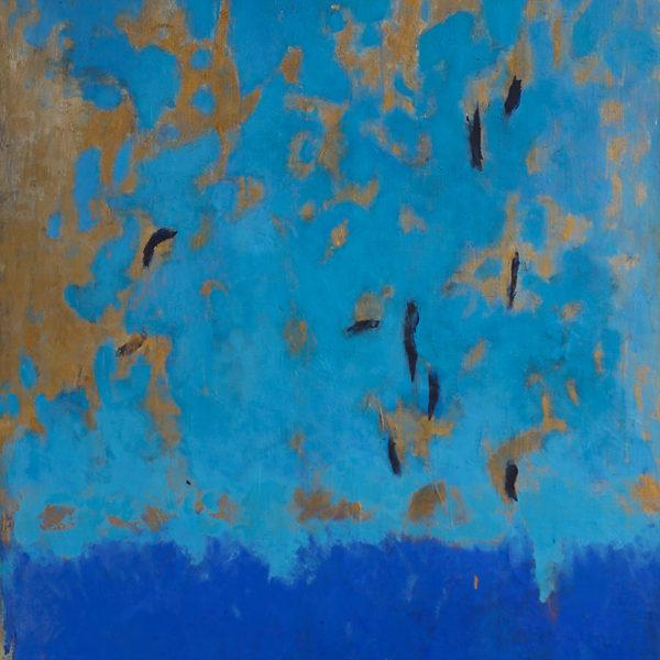 Tableaux abstraits triptyque en acrylique, dorure et argile sur toile de lin, signé Beatrice Pontacq, artiste peintre à Bordeaux