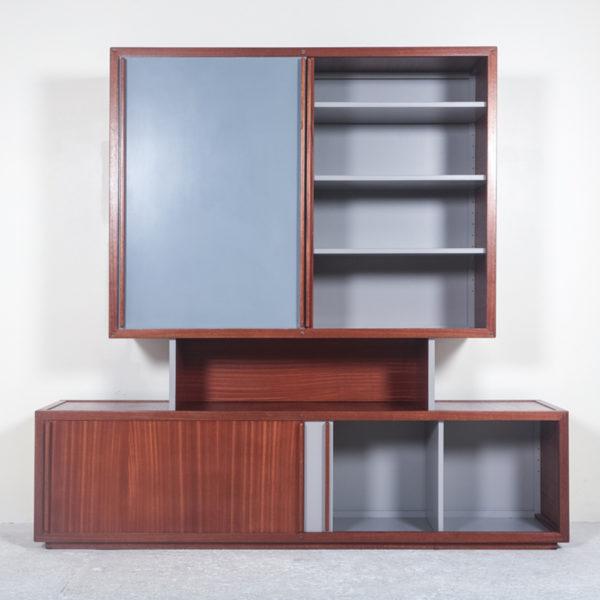 Cabinet vintage des années 60 en acajou et laque signé André Sornay