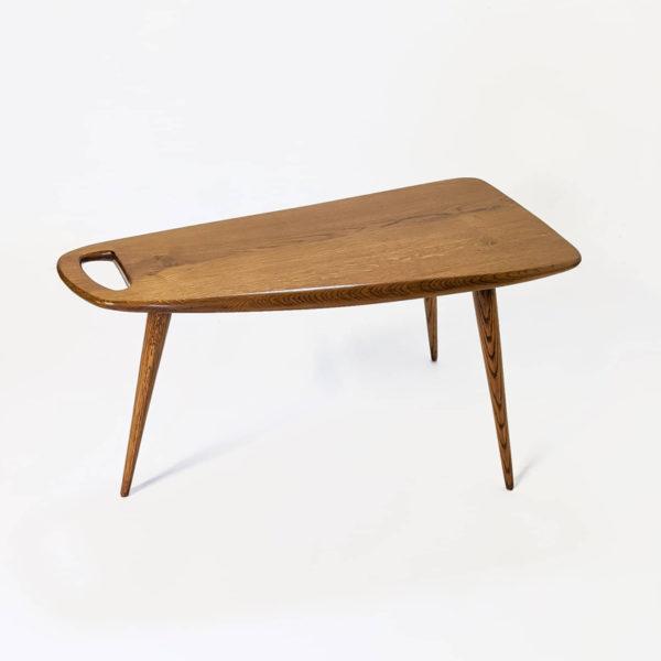 Table d'appoint vintage des années 50 en chêne massif signée Pierre Cruège