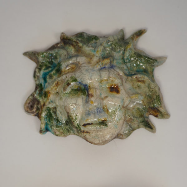 """Sculpture murale """"Méduse"""" en céramique Raku émaillée signée Bella Hunt & DDC"""