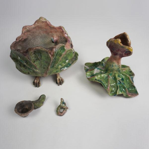 Bougeoir original en céramique Raku émaillée, signé Bella Hunt & DDC