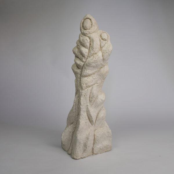 """Sculpture en stuc """"Vierge à l'enfant"""". Pièce unique signée Bella Hunt & DDC"""
