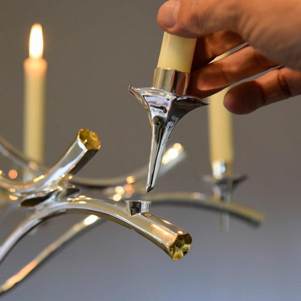 Lustre d'exception à 6 bougies en argent massif, signé Roland Daraspe